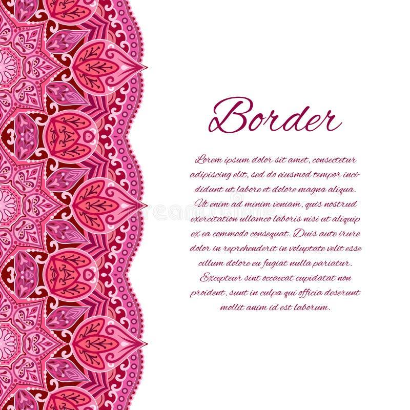 Carta con il confine della mandala Carta o invito Nozze rosse Elemento geometrico del cerchio royalty illustrazione gratis