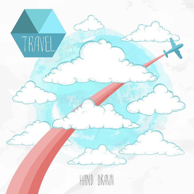 Carta con l'aeroplano ed il volo colorato della traccia attraverso le nuvole disegnate a mano royalty illustrazione gratis