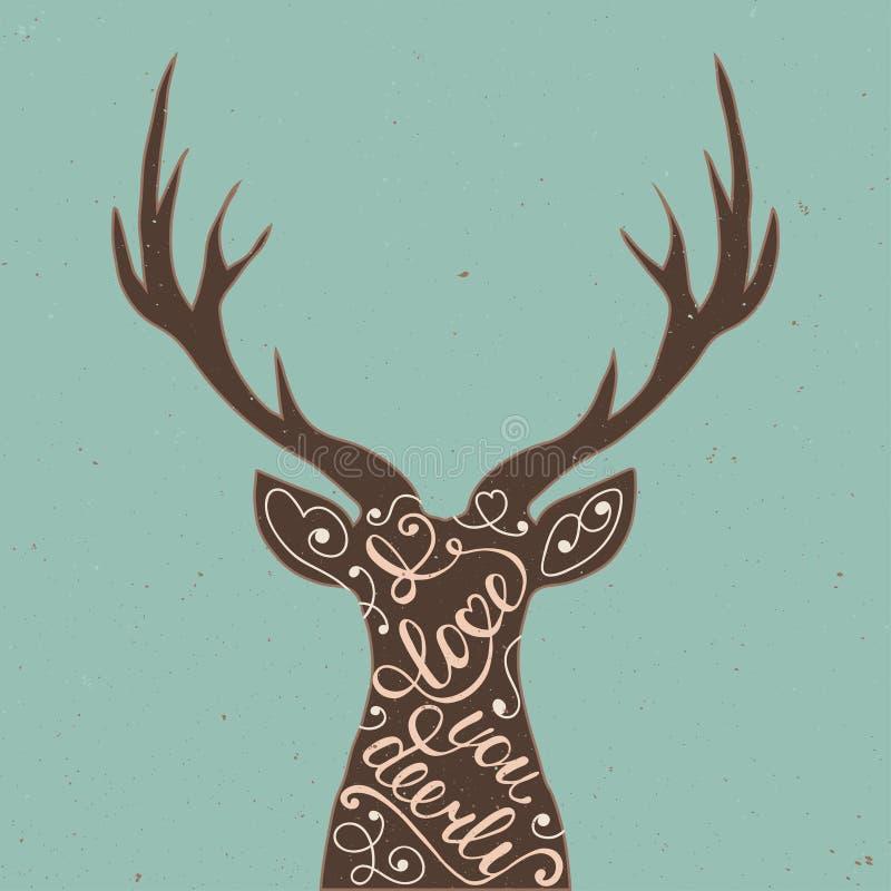 Carta con l'elemento disegnato a mano di progettazione di tipografia e cervi per le cartoline d'auguri, i manifesti e la stampa royalty illustrazione gratis