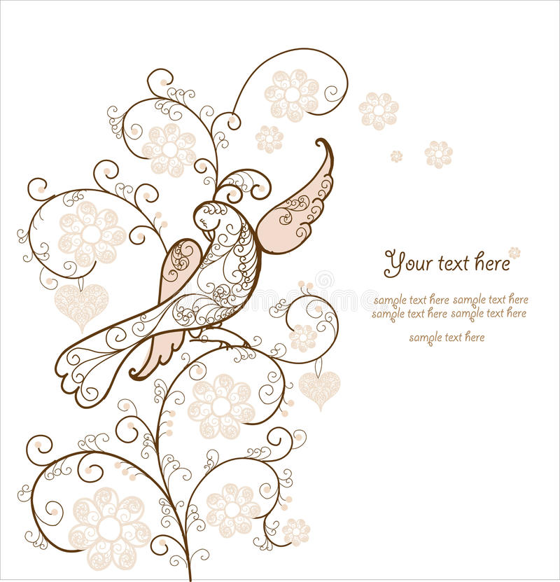 Carta con l'uccello royalty illustrazione gratis