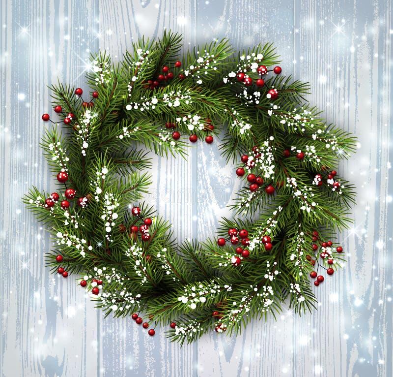 Carta con la corona di Natale illustrazione vettoriale