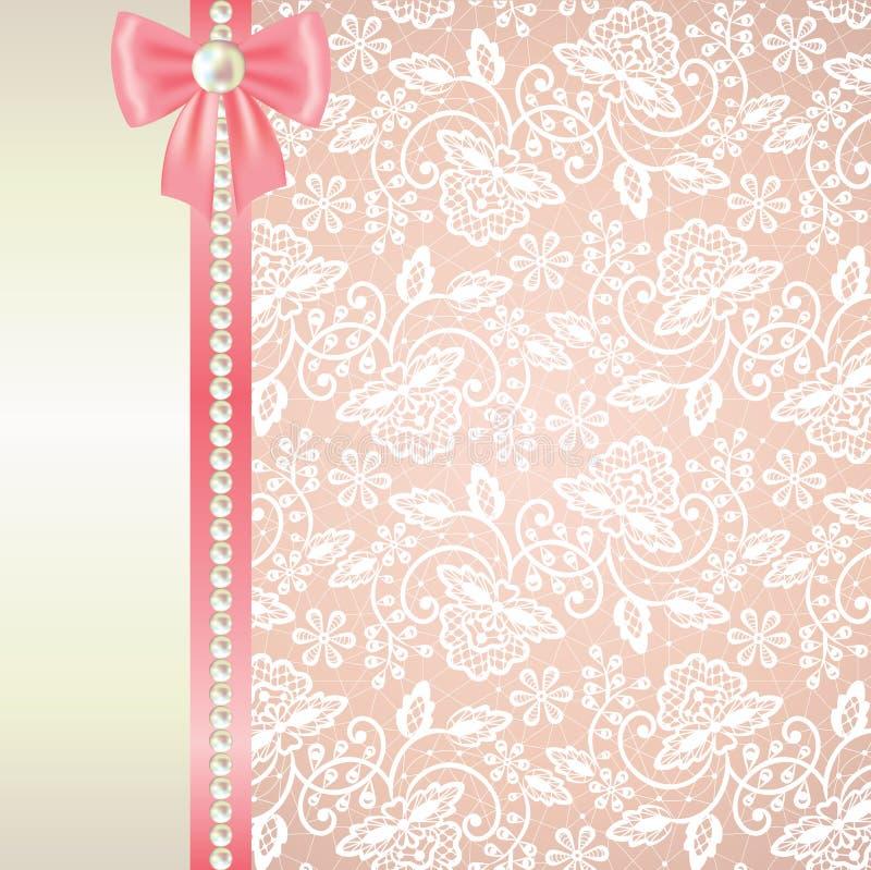 Carta con pizzo bianco su fondo rosa royalty illustrazione gratis