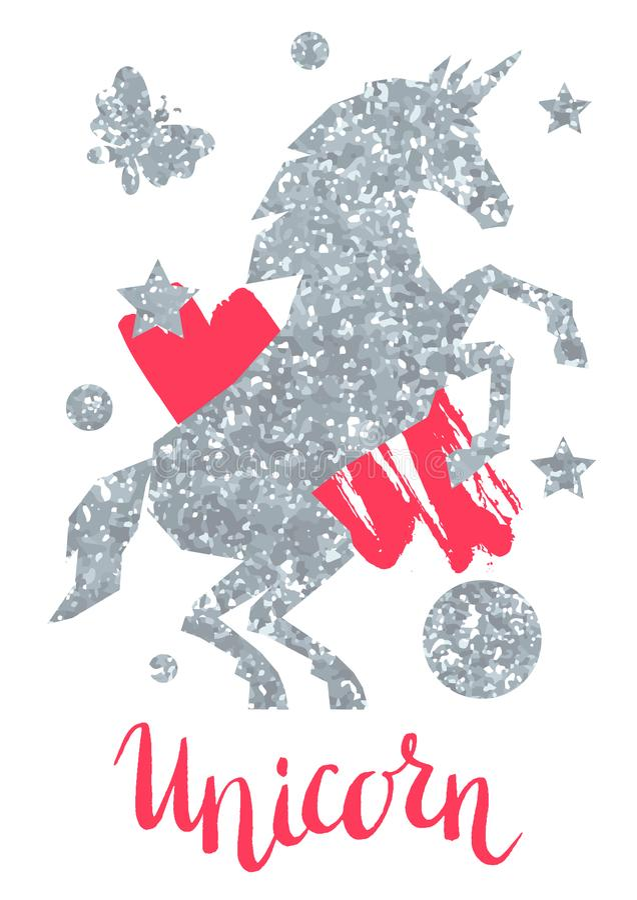 Carta con struttura di scintillio dell'unicorno e dell'argento di fantasia illustrazione di stock