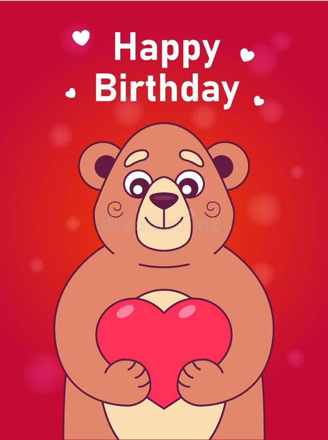Carta con un orso sveglio che tiene un cuore su un fondo rosso illustrazione di stock