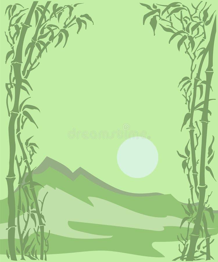 Carta con un paesaggio, un sole e un bambù della montagna fotografia stock
