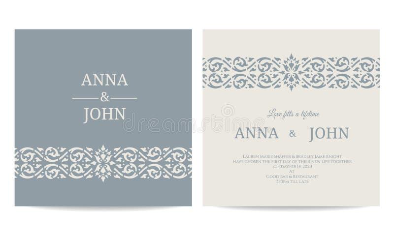 Carta contemporanea degli inviti di nozze - linea progettazione blu grigia di vettore di tono di arte illustrazione di stock