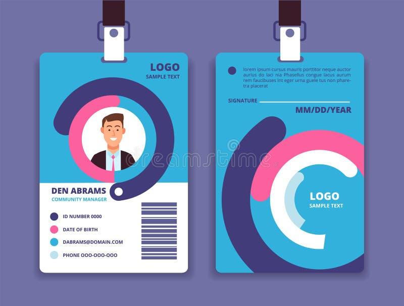 Carta corporativa di identificazione Distintivo professionale di identità degli impiegati con l'avatar dell'uomo Modello di diseg illustrazione di stock