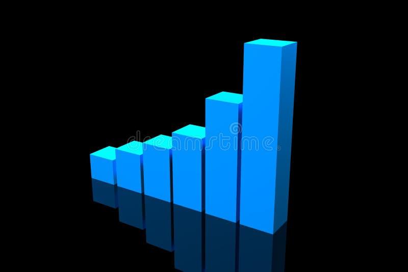Carta crescente da barra azul ilustração do vetor
