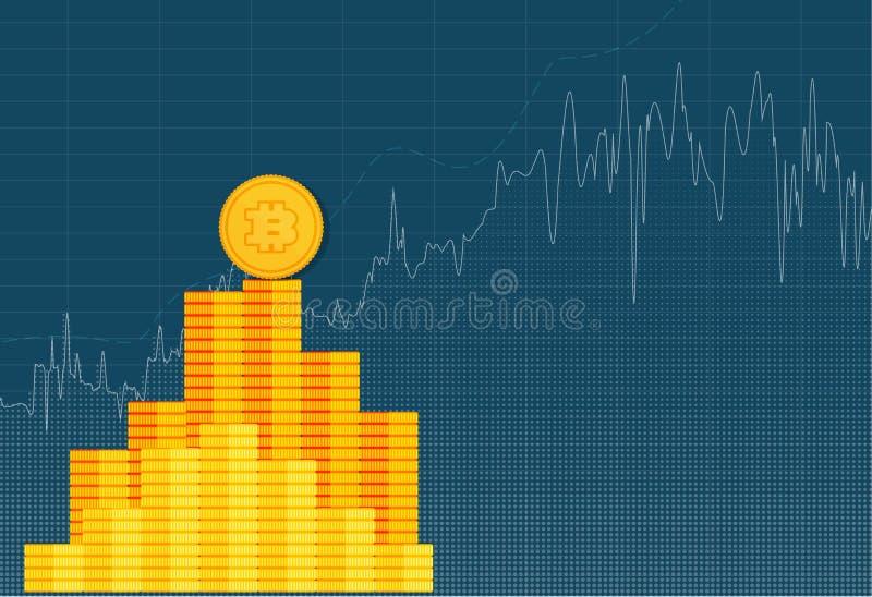 Carta crypto del gráfico del palillo de la moneda de Bitcoin del comercio de la inversión del mercado de acción ilustración del vector