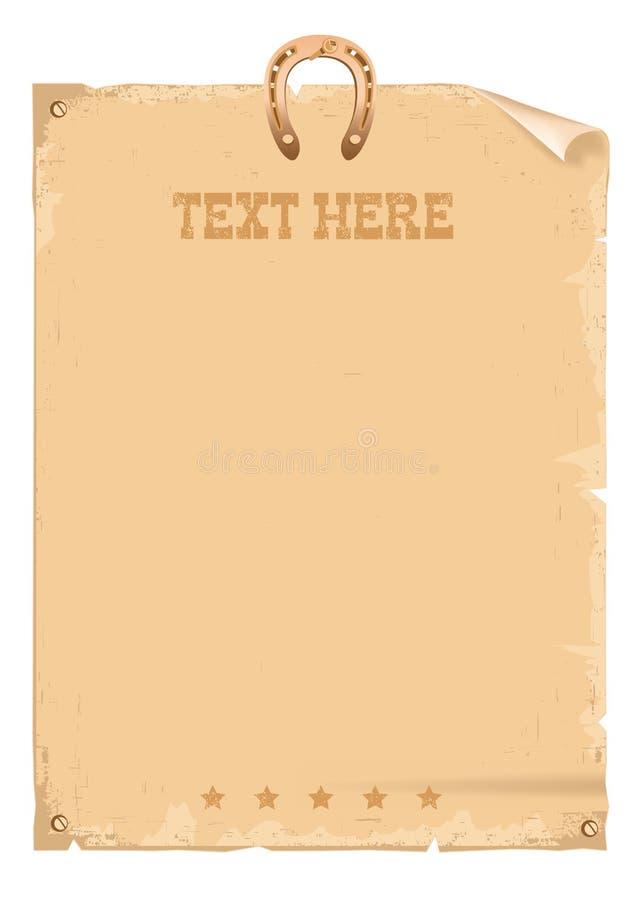 Carta d'annata ad ovest selvaggia del cowboy per testo ed il ferro di cavallo su bianco royalty illustrazione gratis