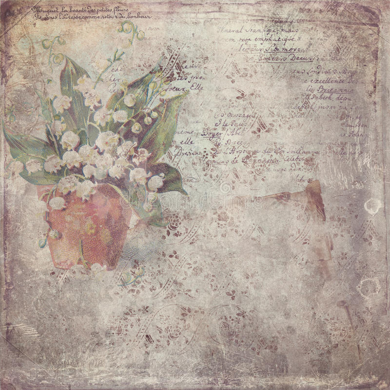 Carta d'annata con il fiore fotografia stock libera da diritti
