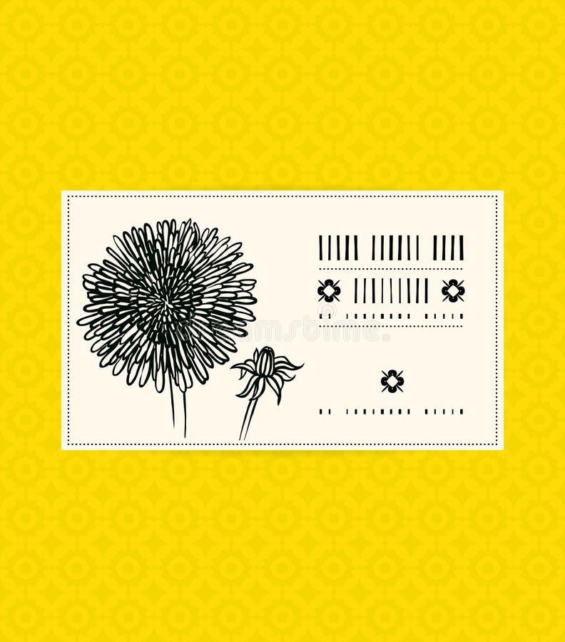 Carta d'annata con il fiore dell'aster illustrazione di stock