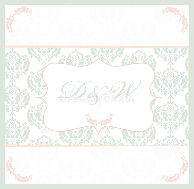 Carta d'annata con il modello dell'ornamento del damasco del pizzo illustrazione vettoriale