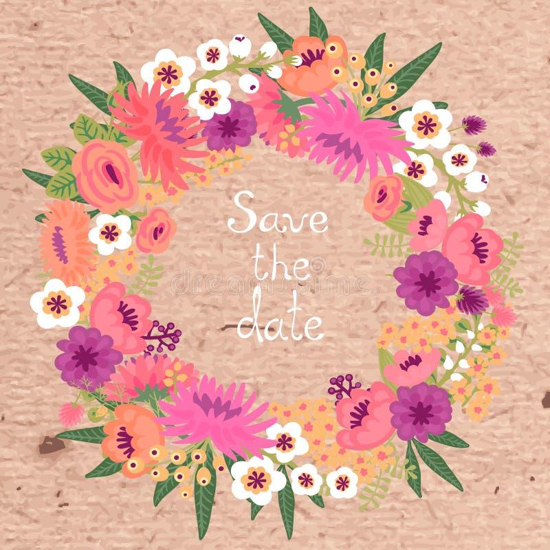 Carta d'annata con la corona floreale. Conservi la data. illustrazione vettoriale