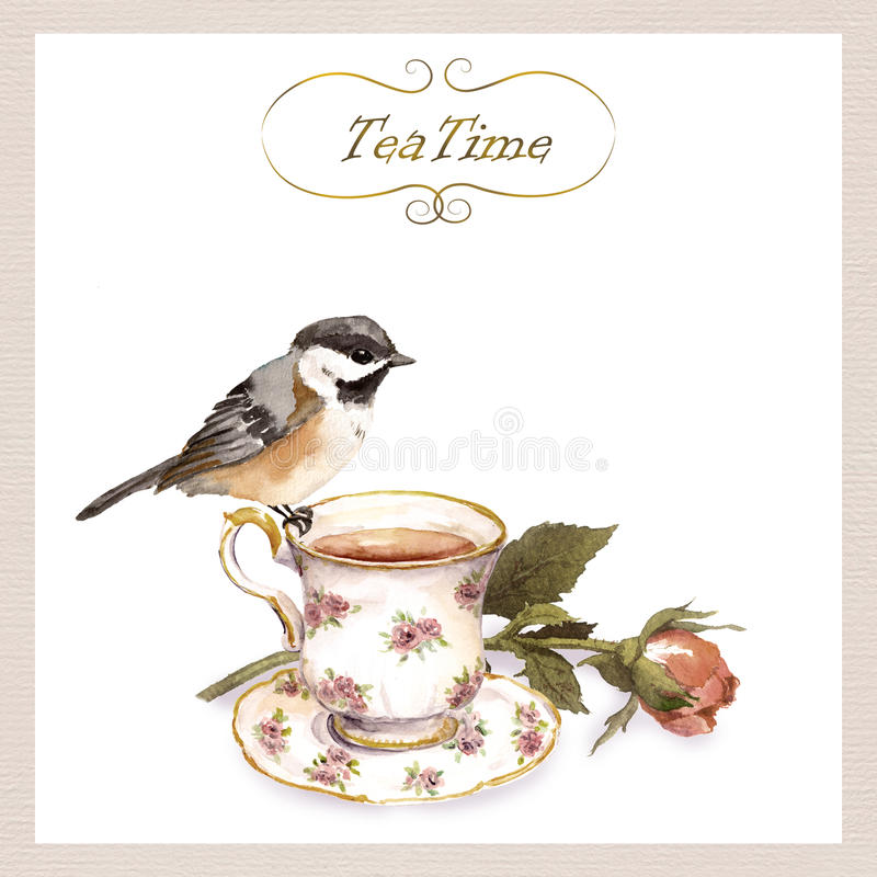 Carta d'annata con retro progettazione - uccello grazioso dell'acquerello, tazza di tè, fiore rosa dell'invito illustrazione di stock