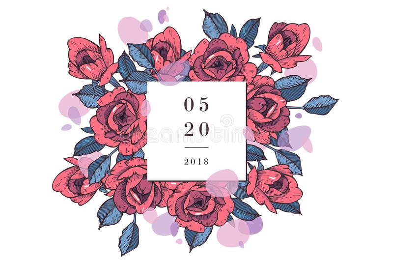 Carta d'annata con Rose Flowers Corona floreale Struttura del fiore per l'invito di nozze Cartolina d'auguri rosa floreale di est illustrazione vettoriale
