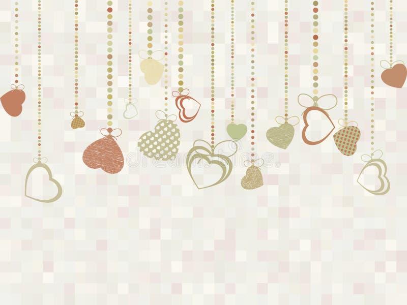 Carta d'annata del biglietto di S. Valentino con i cuori svegli ENV 8 illustrazione di stock