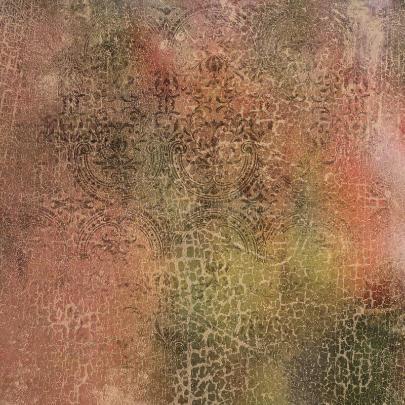 Carta d'annata del collage del fondo - Autumn Shades Abstract - - caduta - carta afflitta di Digital illustrazione vettoriale