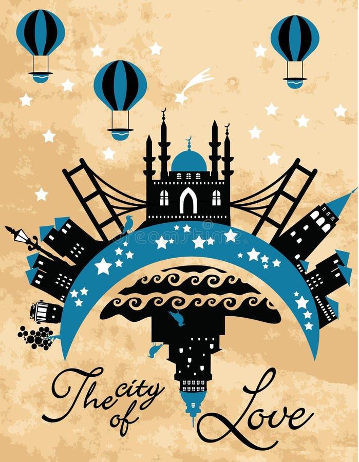Carta d'annata della città nel vettore royalty illustrazione gratis