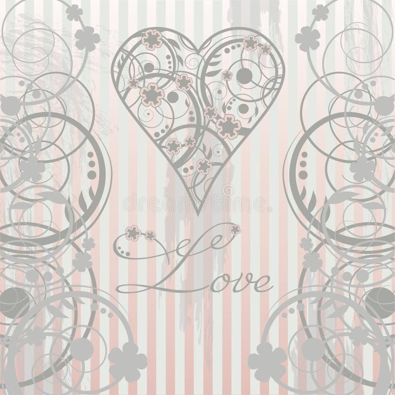 Carta d'annata di amore royalty illustrazione gratis