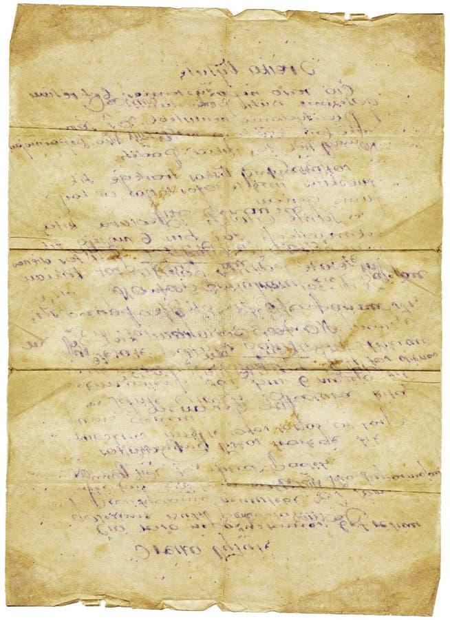 Carta d'annata di lerciume della vecchia lettera fotografie stock