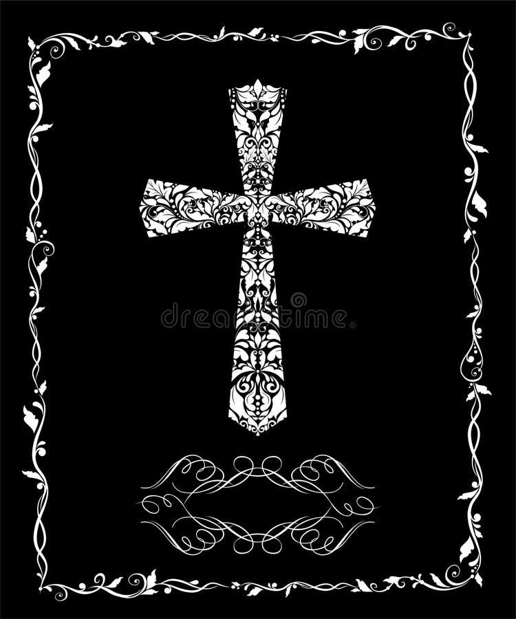 Carta d'annata di saluto cattolico in bianco e nero per il battesimo e pasqua royalty illustrazione gratis