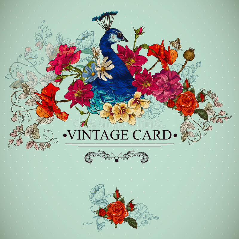 Carta d'annata floreale con il pavone illustrazione di stock