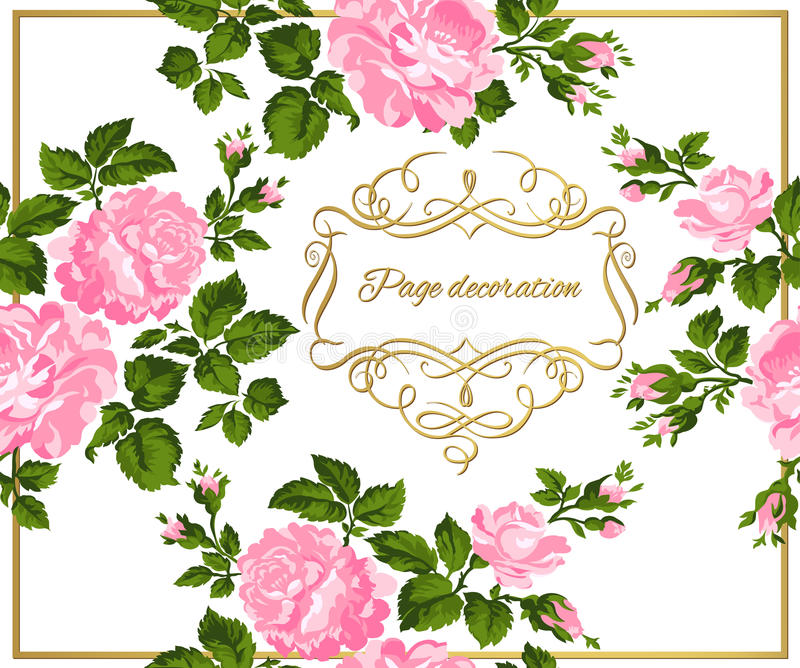 Carta d'annata lussuosa delle rose rosa con la calligrafia dell'oro Illustrazione di vettore illustrazione di stock