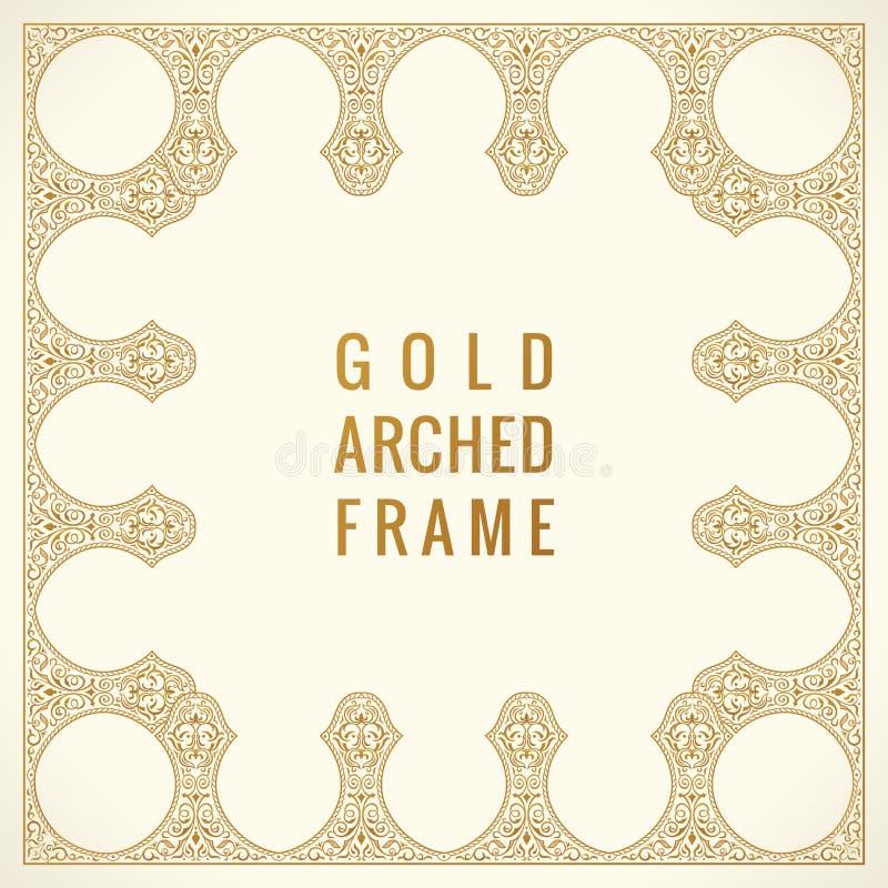 Carta d'annata orientale dell'arco Struttura floreale dell'ornamento arabo Elementi di progettazione del modello nello stile orie illustrazione vettoriale