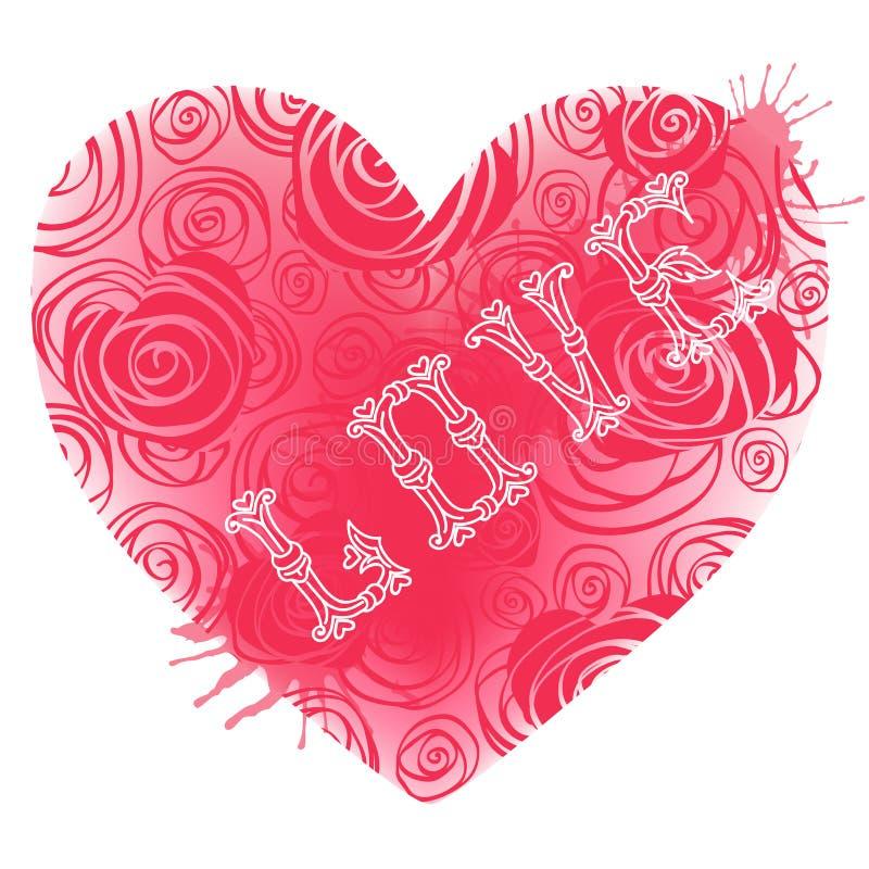 Carta d'annata per il San Valentino con i cuori. illustrazione di stock