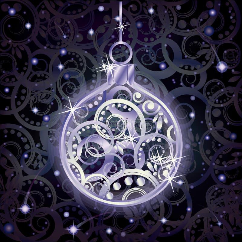 Carta d'argento di feste con la palla di natale, vettore illustrazione vettoriale
