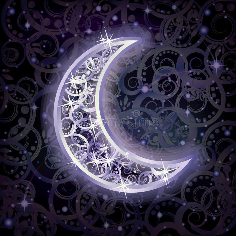 Carta d'argento di feste della luna, vettore royalty illustrazione gratis