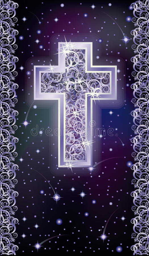 Carta d'argento di feste di Christian Cross illustrazione di stock