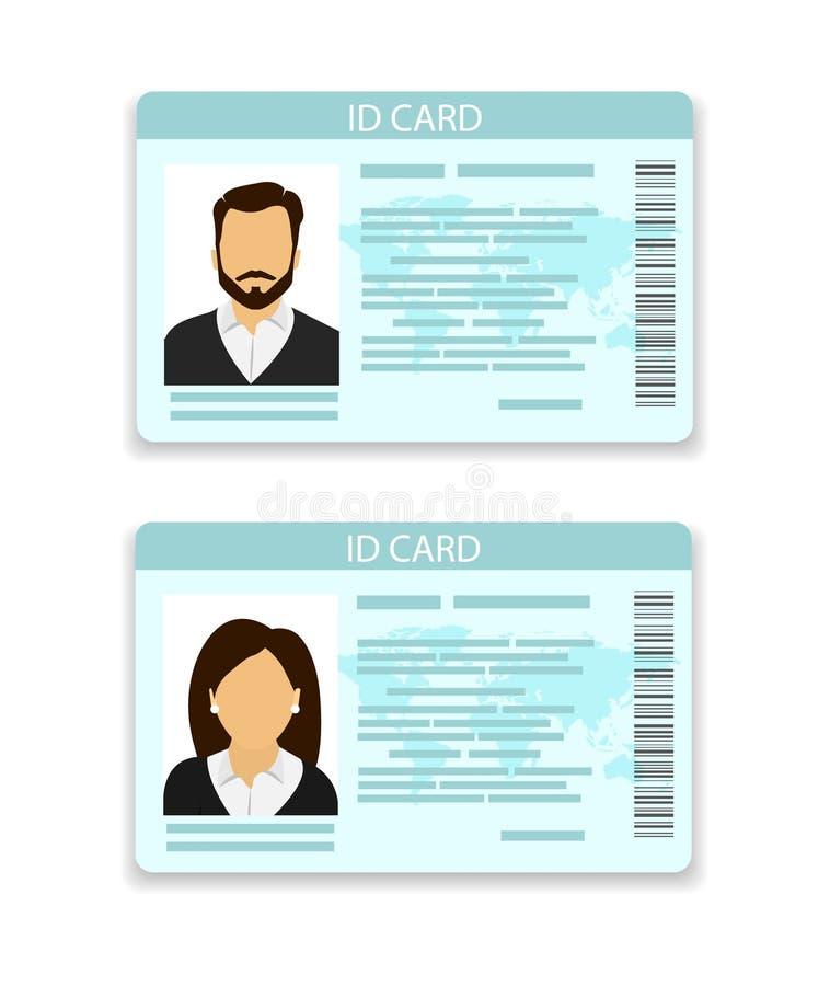 carta d'identità Carta per gli uomini e per le donne illustrazione di stock