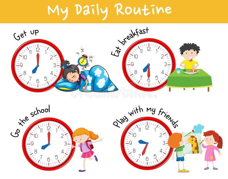 Carta da atividade que mostra a rotina diária diferente das crianças ilustração royalty free