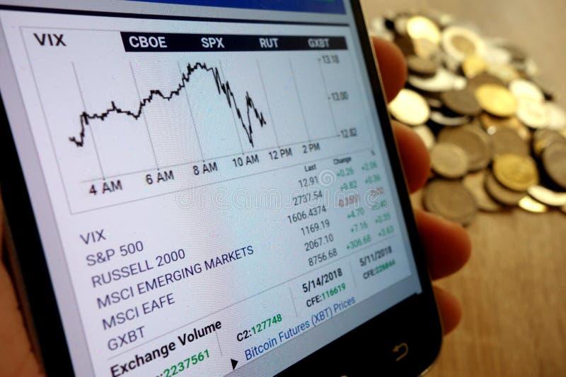 Carta da exibição do Web site dos mercados globais de CBOE indicada no smartphone e na pilha de moedas imagens de stock