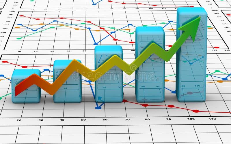 Carta da finança do negócio, diagrama, barra, gráfico ilustração royalty free