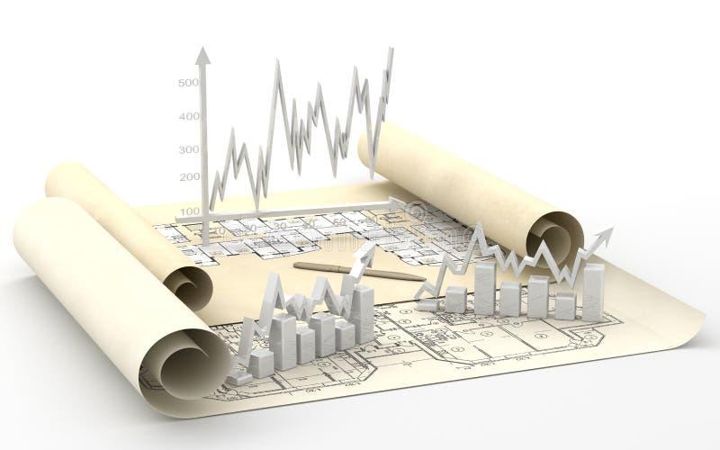 Carta da finança do negócio, diagrama, barra, gráfico ilustração do vetor