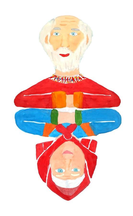 Carta da gioco dai ritratti dello specchio della gente anziana dei nonni su un fondo bianco isolato come simbolo di amore illustrazione di stock