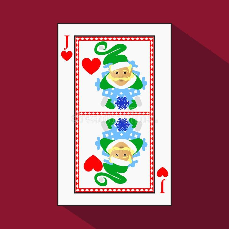 Carta da gioco l'immagine dell'icona è facile NUOVO ANNO ELF DEL BURLONE DELLA PRESA DEL CUORE OGGETTO DI NATALE con bianco un su royalty illustrazione gratis