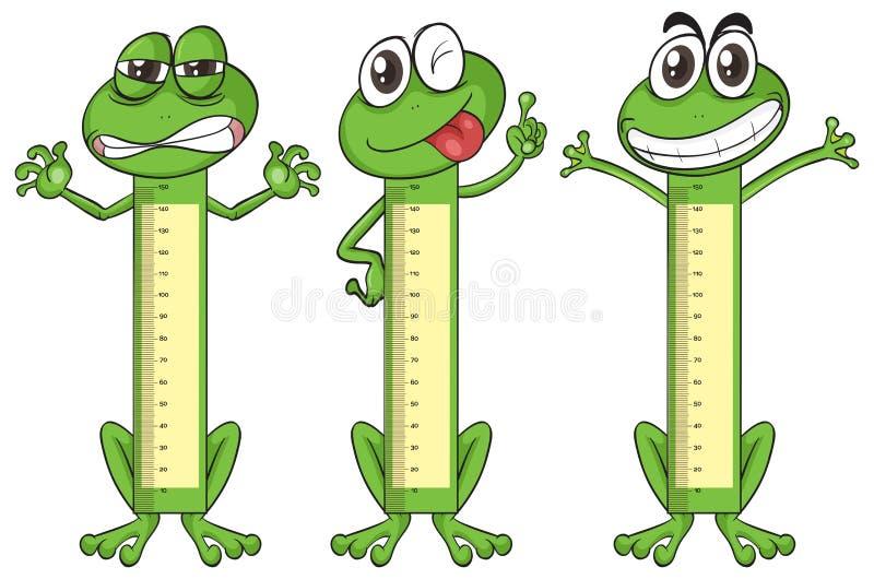 Carta da medida da altura com caráteres da rã ilustração do vetor