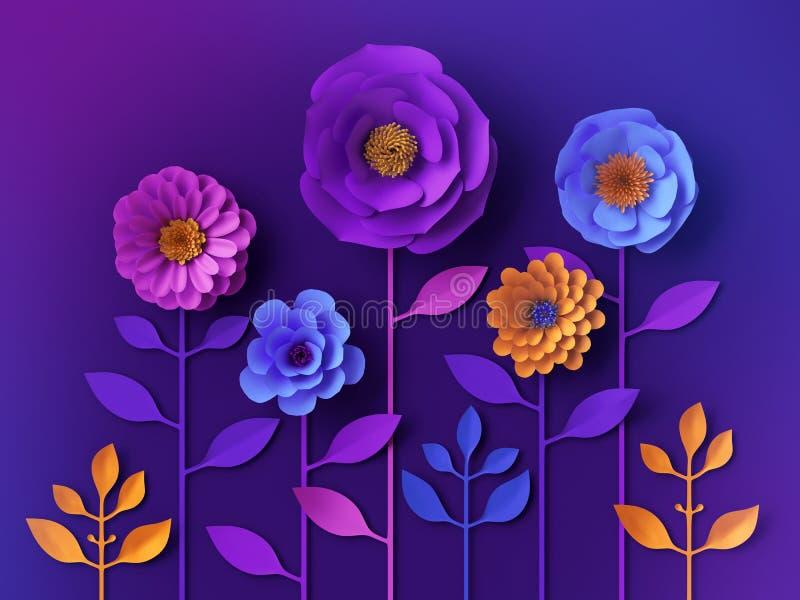 carta da parati al neon variopinta dei fiori di carta 3d, fondo botanico, clipart di estate della molla, elementi di progettazion illustrazione vettoriale