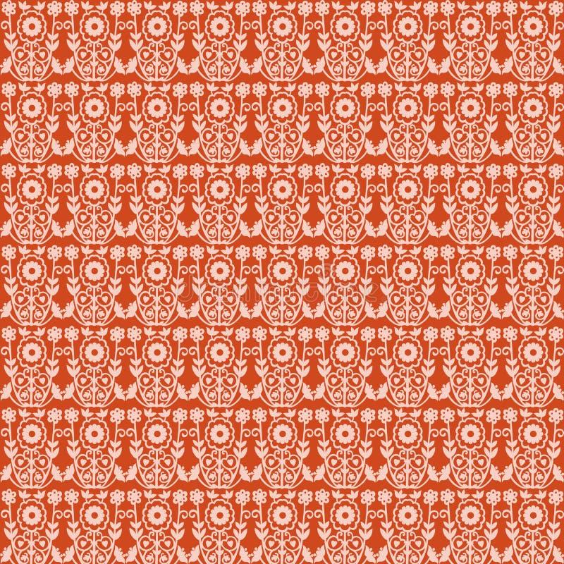 Carta da parati arancione del damasco di Paisley dell'annata illustrazione di stock