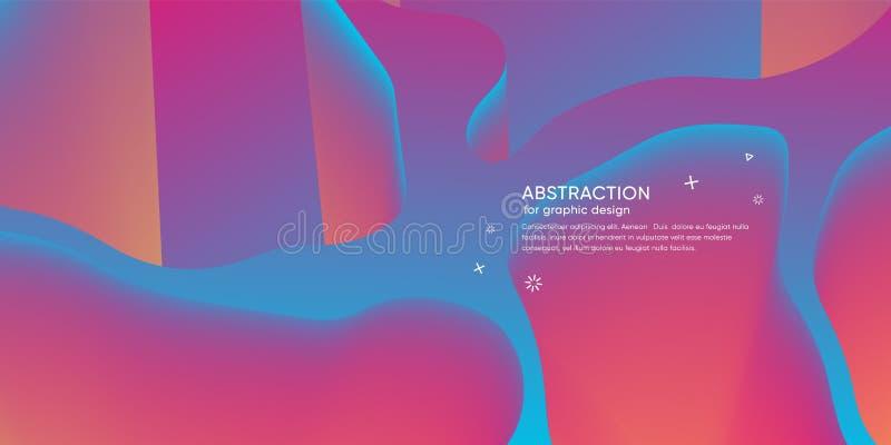 Carta da parati astratta con forma dinamica 3d Fondo con le forme di moto Contesto d'avanguardia futuristico Disposizione moderna illustrazione vettoriale