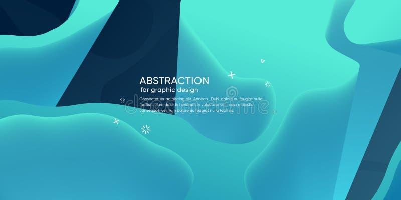 Carta da parati astratta con forma dinamica Fondo con le forme liquide Contesto d'avanguardia del ghiaccio futuristico Disposizio royalty illustrazione gratis
