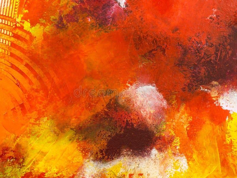 Carta da parati astratta rossa, struttura, fondo del frammento del primo piano di pittura acrilica sulla tela con i colpi della s illustrazione di stock