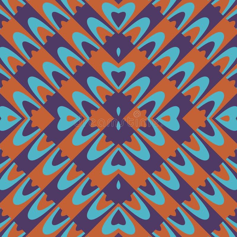 Carta da parati blu arancio porpora con il motivo floreale illustrazione di stock