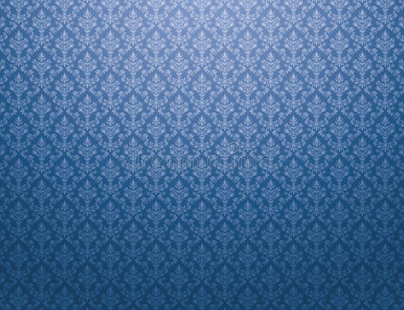 Carta da parati blu con il modello del damasco royalty illustrazione gratis