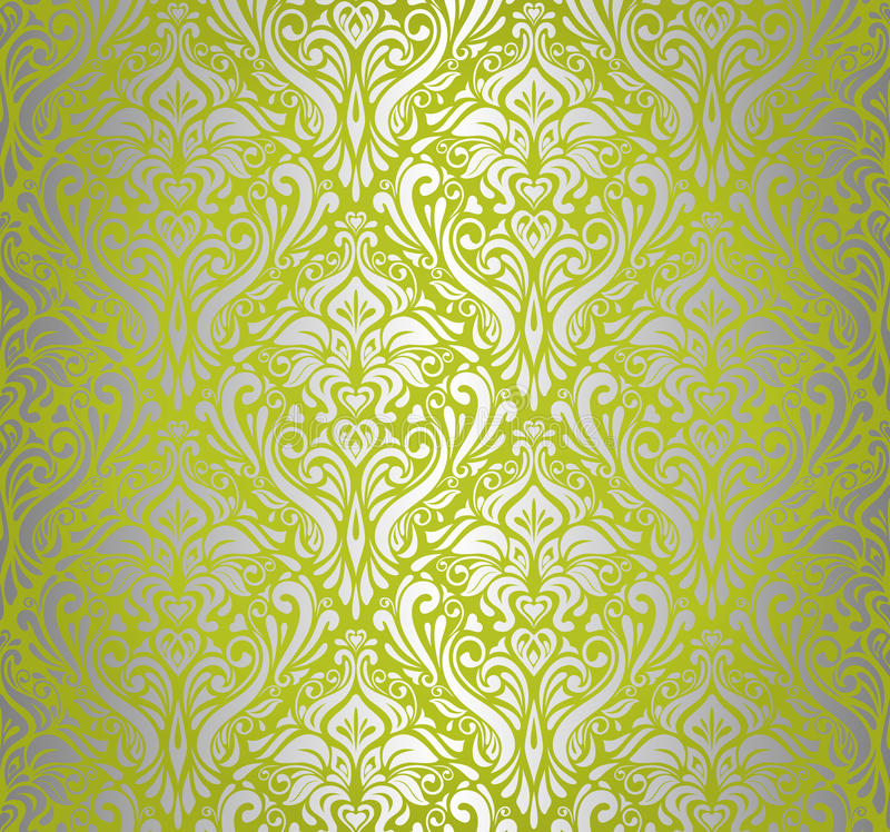 Carta da parati d 39 annata verde d 39 argento illustrazione for Carta parati argento