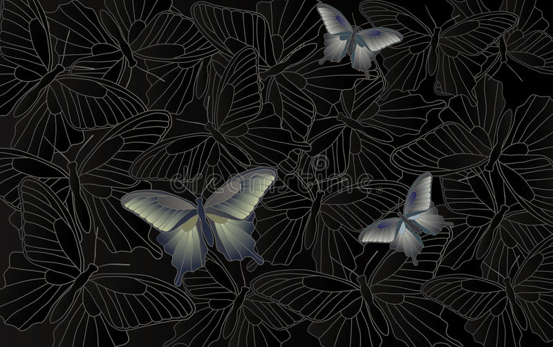 Carta da parati da tavolino - fondo con le farfalle illustrazione di stock